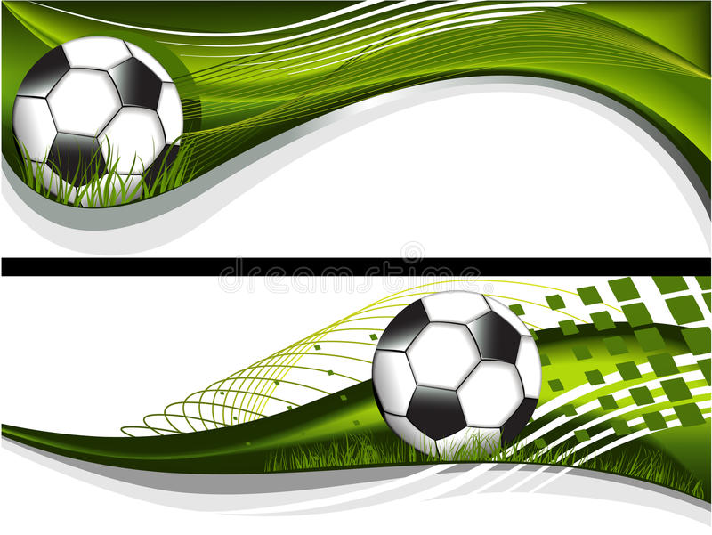 Two football banners stock illustration