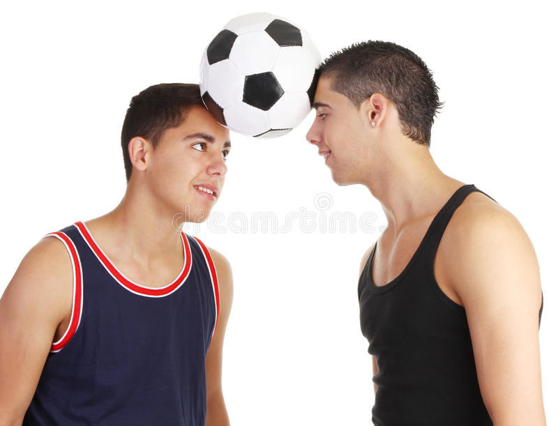 Two footballers stock photos