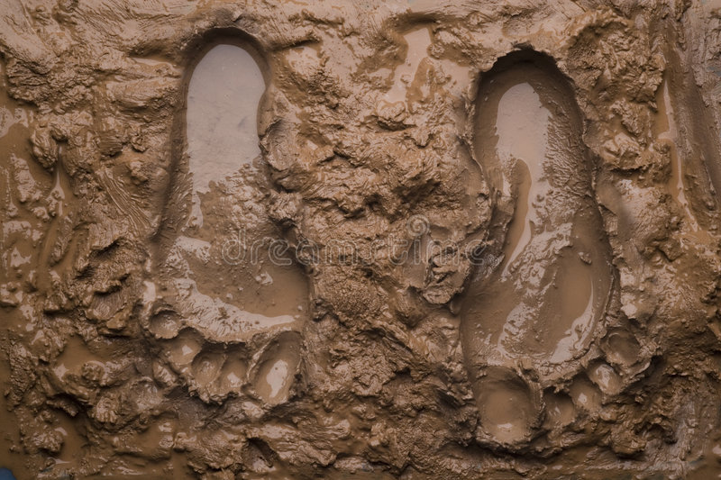 Two footprints on wet mud royalty free stock photo