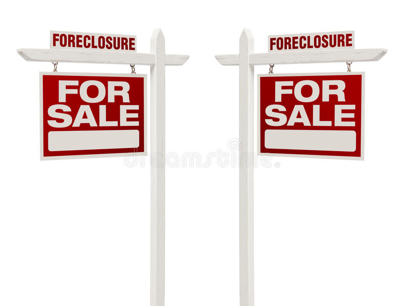 Download Two Foreclosure For Sale Real Estate Signs With Clipping Path Stock Image - Image: 33443941