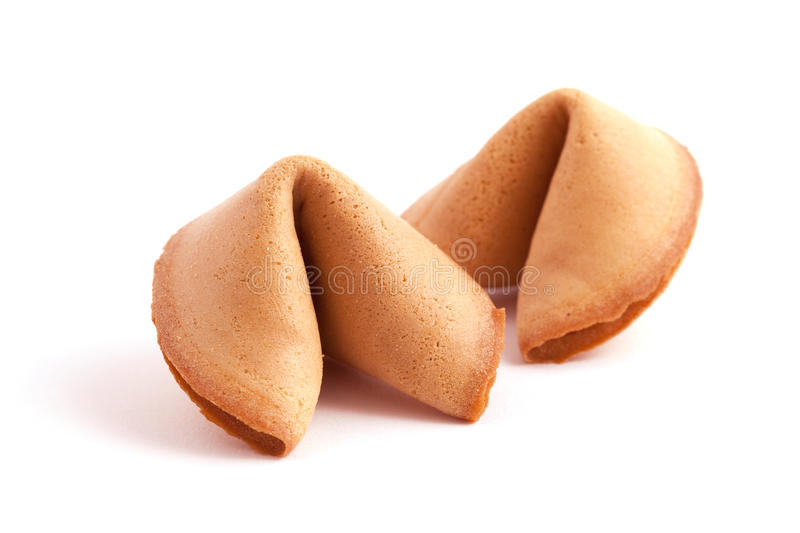 Two fortune cookies stock photo