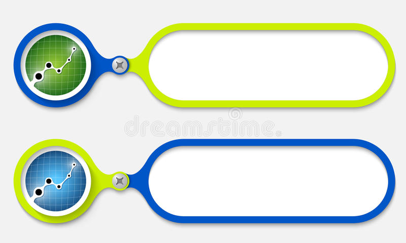 Two frames. Joined by a bolt and graph royalty free illustration