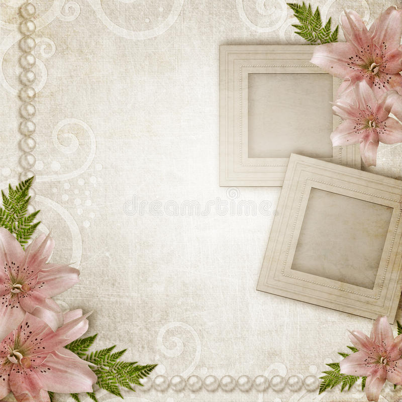 Download Two frames with pink lily stock image. Image of brush - 22999447