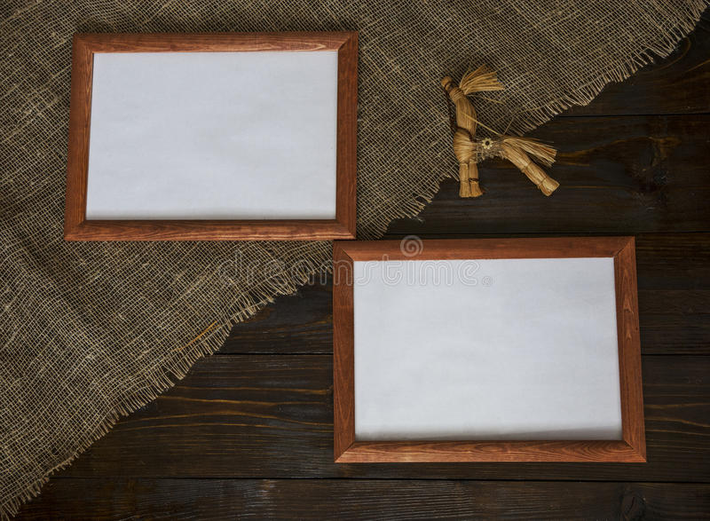 Two frames with a toy royalty free stock image