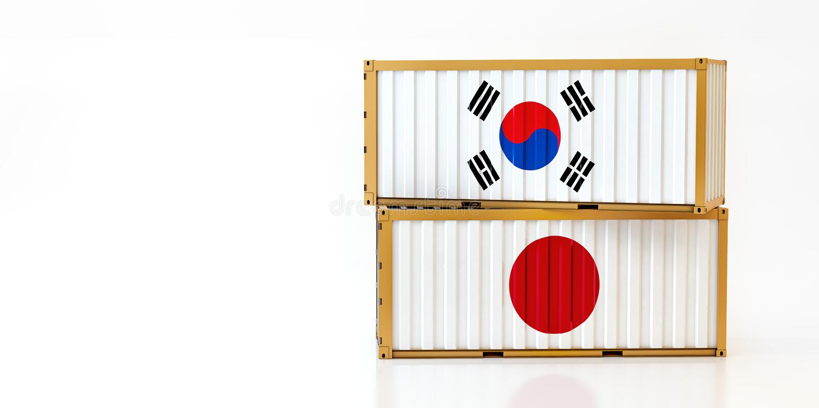 Two freight container with South Korean and Japan flag. stock illustration