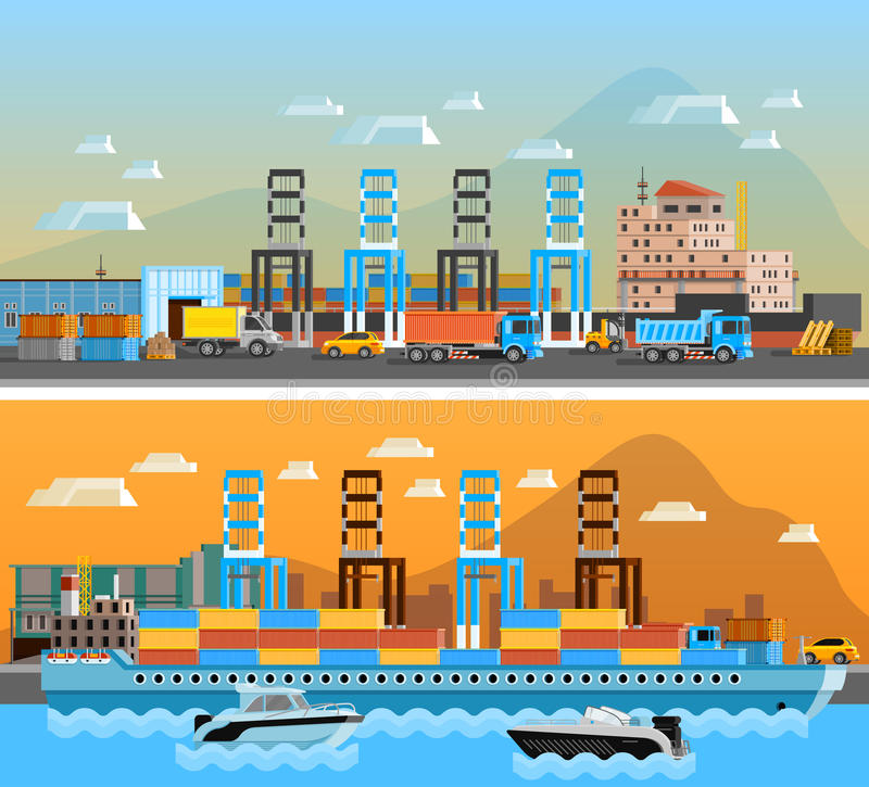 Two Freight Port Horizontal Banners. With dry cargo ship at shipyard and port of loading and unloading with trucks flat vector illustration vector illustration