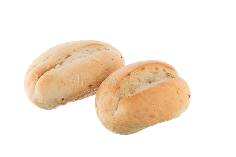 Two french bread rolls royalty free stock images