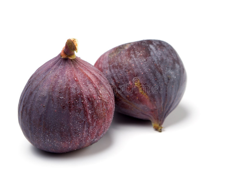 Two fresh figs isolated royalty free stock images