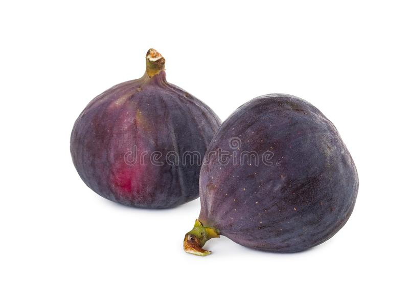 Two fresh figs isolated on white background. stock photography