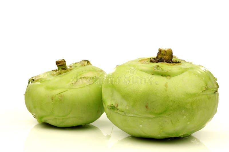 Two fresh kohlrabi cabbages royalty free stock photo