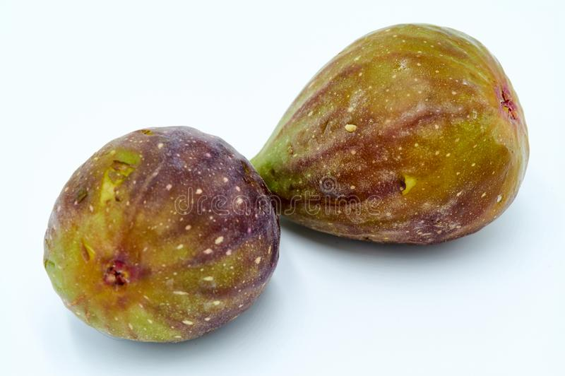 Two Fresh Organic Figs stock images