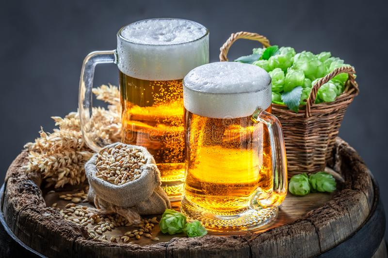 Two fresh pint of beers on wooden barrel stock images