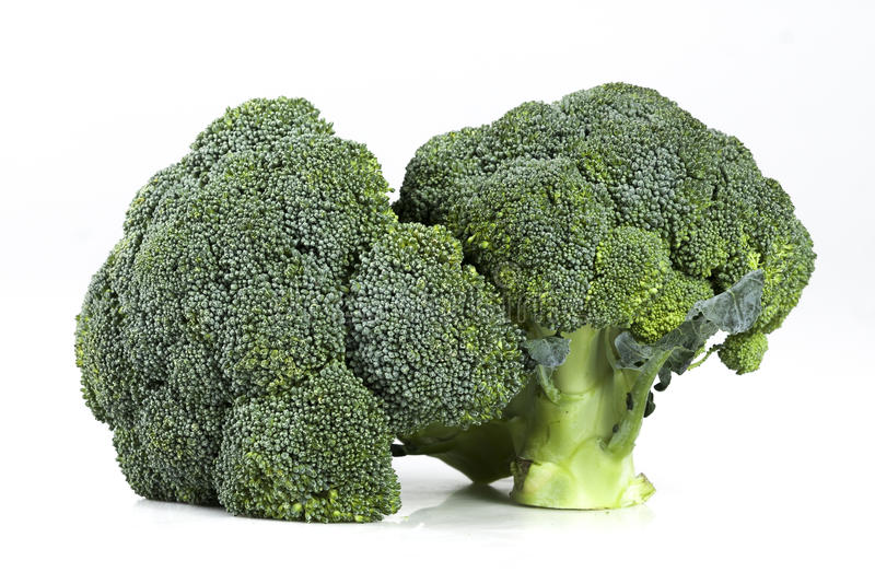 Two fresh ripe broccoli heads royalty free stock images