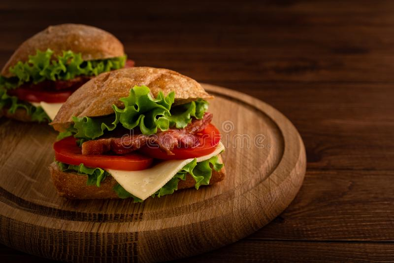 Two fresh sandwiches royalty free stock photos