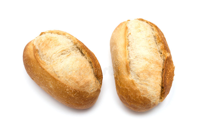 Two freshly baked bread rolls stock photos