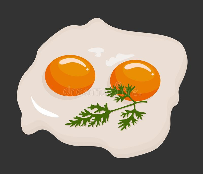 Two fried eggs in a frying pan cooked for breakfast. Delicious international meal. Homemade food, top view. Vector royalty free illustration