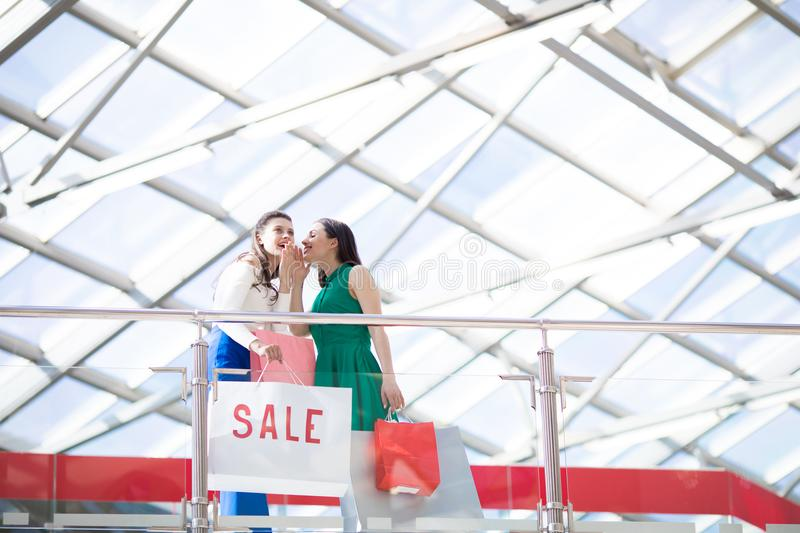 Shoppers gossipping royalty free stock photos