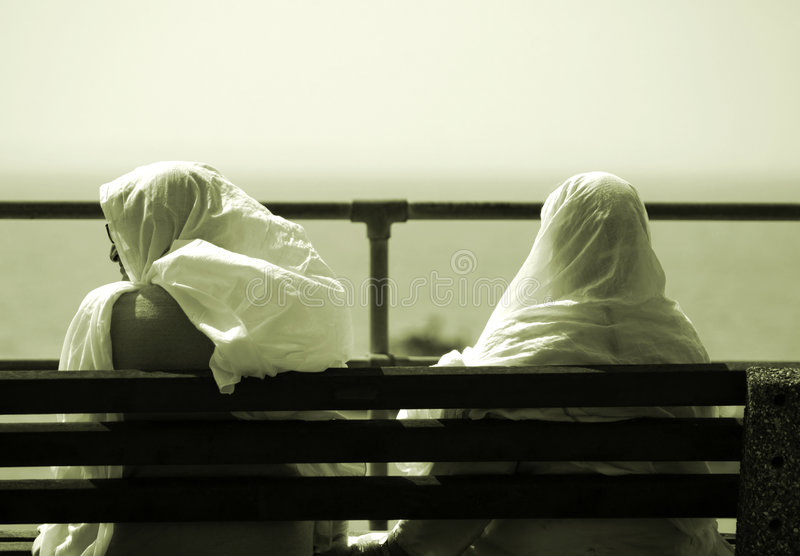 Download Two Friends stock image. Image of couple, bench, muslim - 211299