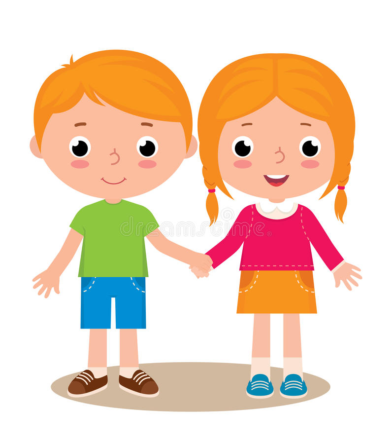 Two friends boy and girl isolated on white background. Stock vector illustration of two friends boy and girl isolated on white background royalty free illustration