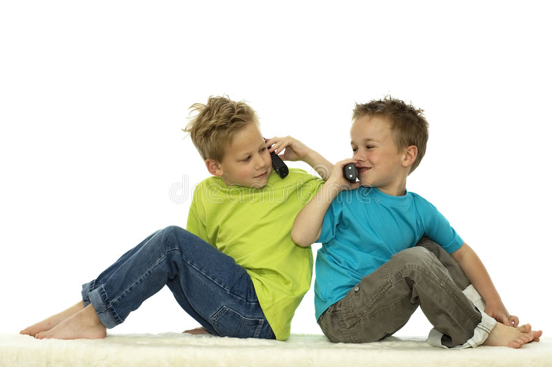 Two Friends Calling Each Other stock photo