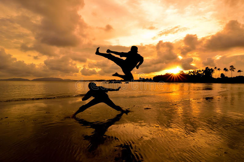 fighting at sunset stock image image of health duel