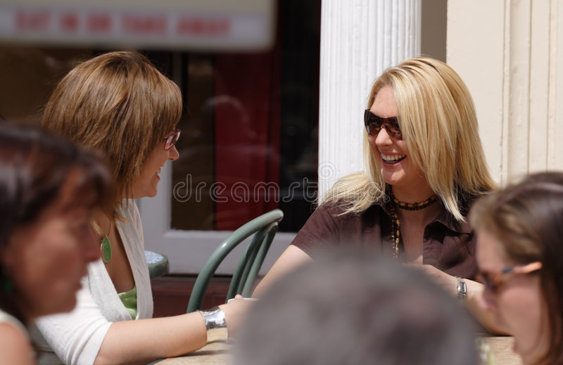 Two friends having a coffee break stock photos