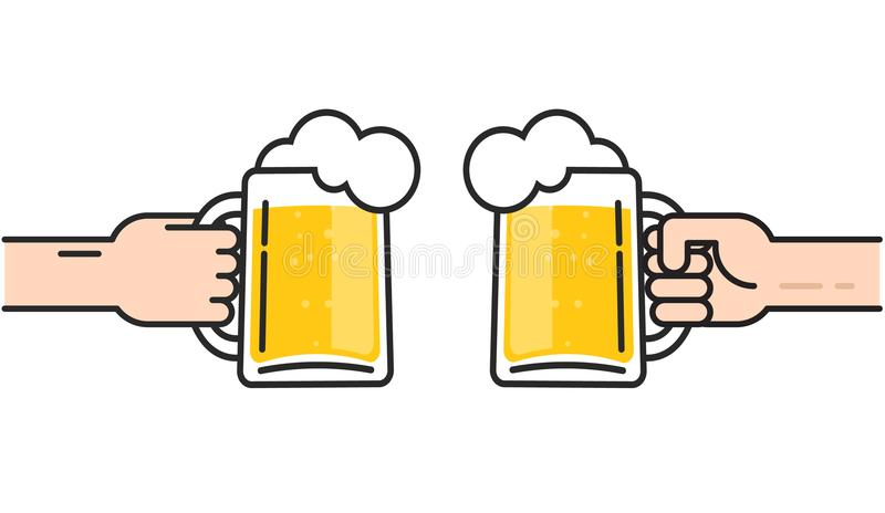 Two friends holding beer glasses with foam cheering, beer in hands toasting, concept of cheering party, flat line art vector illustration