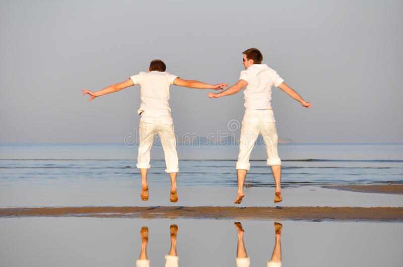 Download Two Friends Is Jumping Royalty Free Stock Photo - Image: 16686345