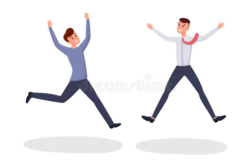 Two friends jumping flat vector illustration. Excited young men, office workers, colleagues, brothers cartoon characters vector illustration