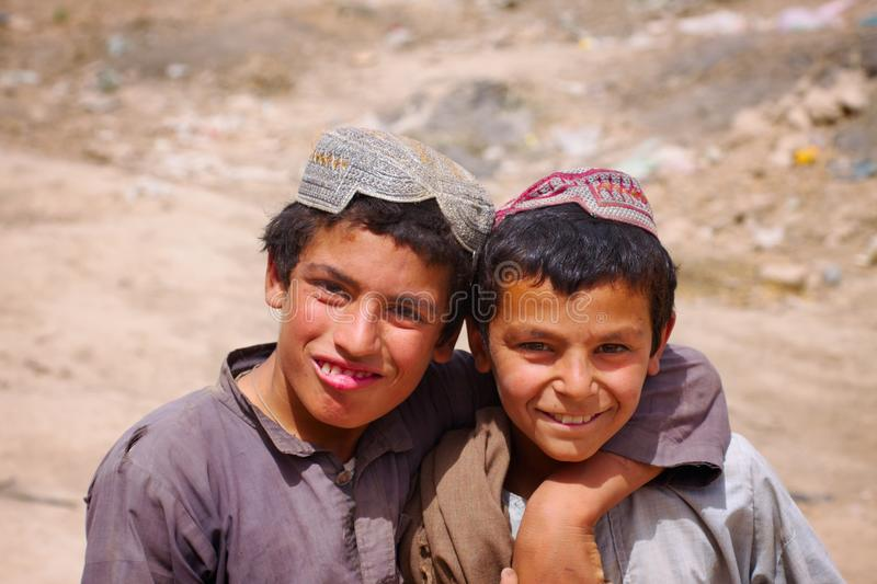 Two friends in Kandahar, Afghanistan royalty free stock photos