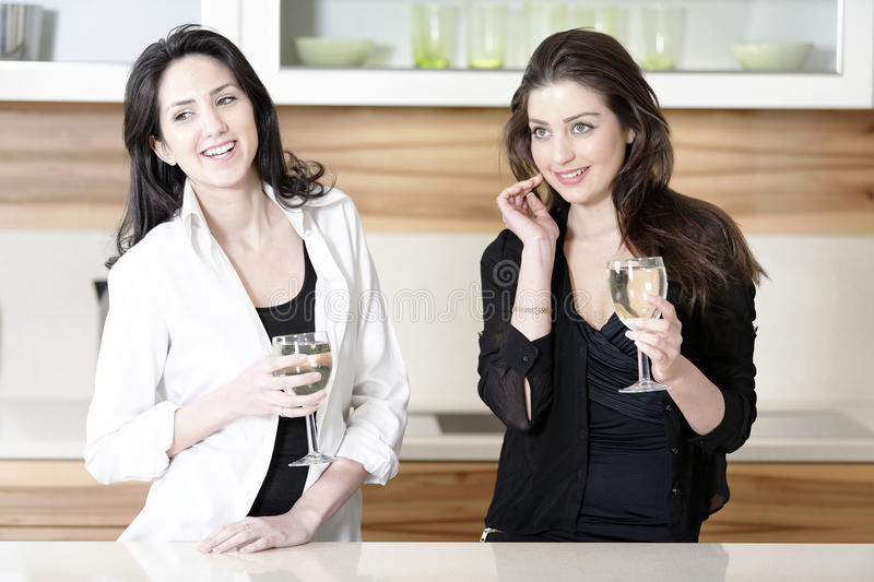 Two friends in a kitchen. Catching up and having a glass of wine stock image
