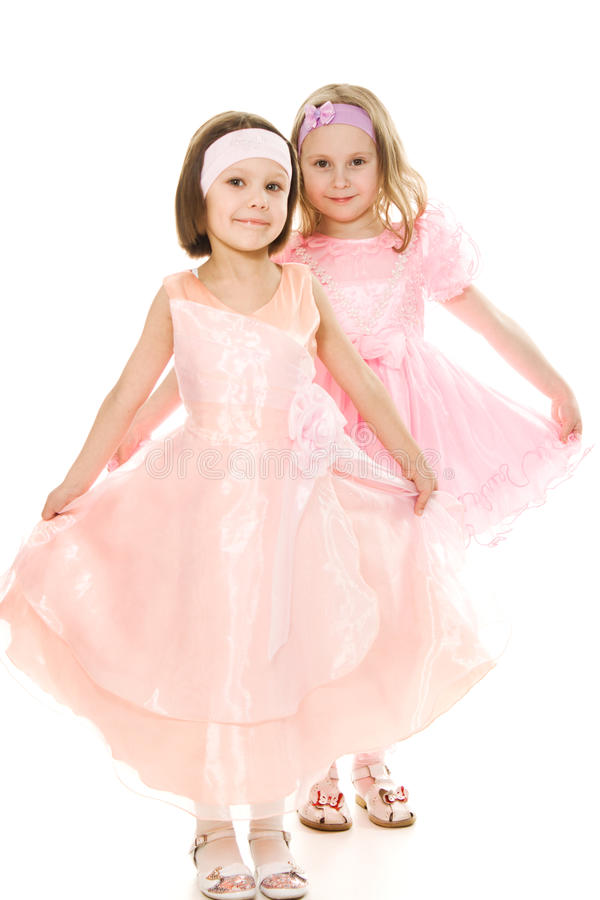Two Friends In A Pink Dress Royalty Free Stock Photography