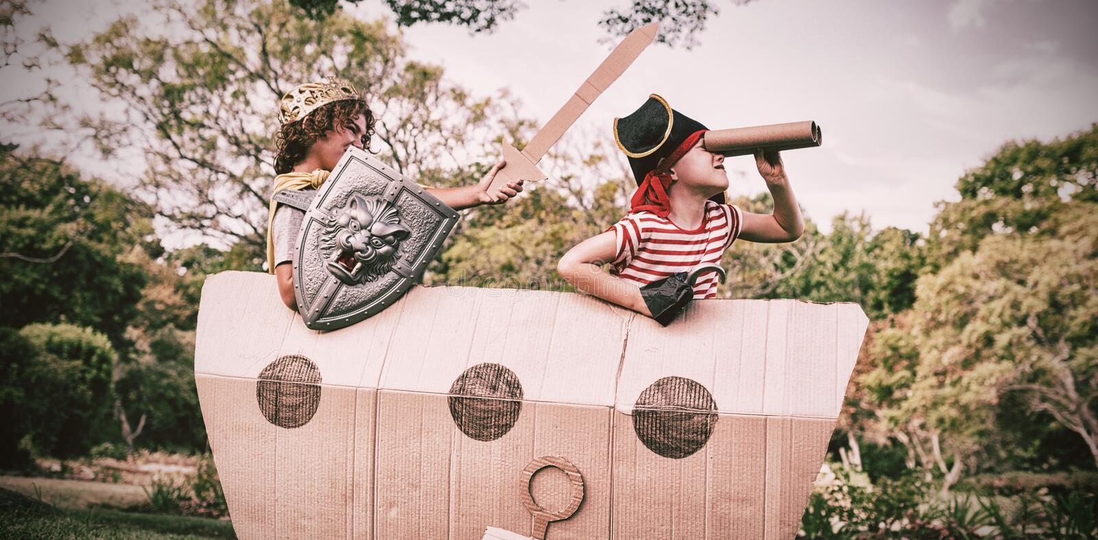 Two friends playing and dressing up royalty free stock photos
