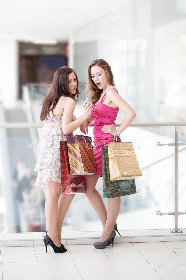 Download Two friends with purchases stock image. Image of emotions - 20132255