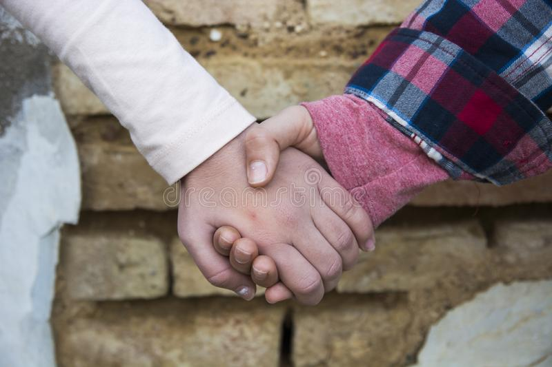 Two friends shaking hands royalty free stock photo