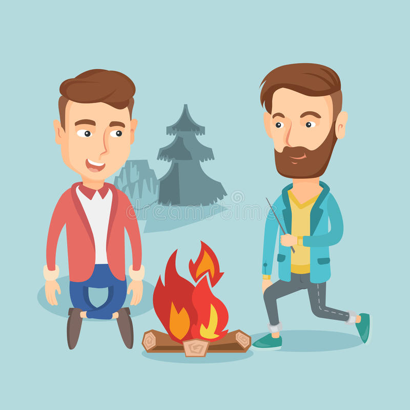 Free Two Friends Sitting Around Bonfire In Camping. Stock Images - 94645124