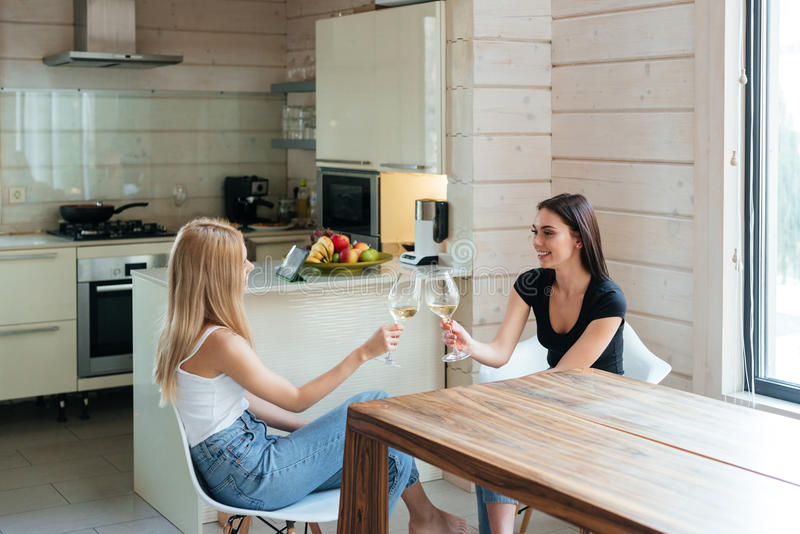Two friends sitting by the table and drinking wine. Side view of a Two friends sitting by the table in kitchen and drinking wine royalty free stock photos