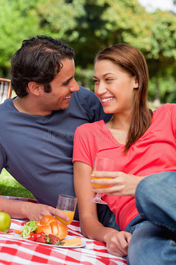 Download Two Friends Smiling Each Other While They Hold Glasses Stock Photo - Image: 25332224