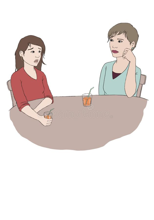 Two friends talk while they drink an orange juice. stock photography