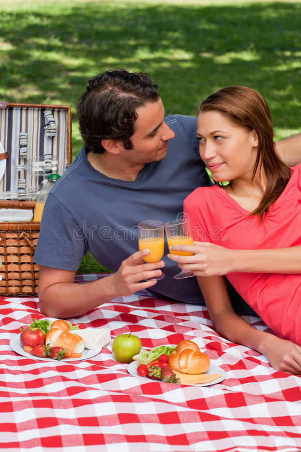 Two Friends Touching Glasses While Looking At Each Other Royalty Free Stock Image