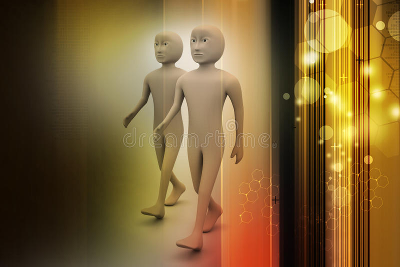 Two friends walk together vector illustration