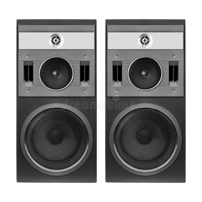 Two front view one three way line array loudspeaker enclosure cabinet isolated on a white background royalty free stock images