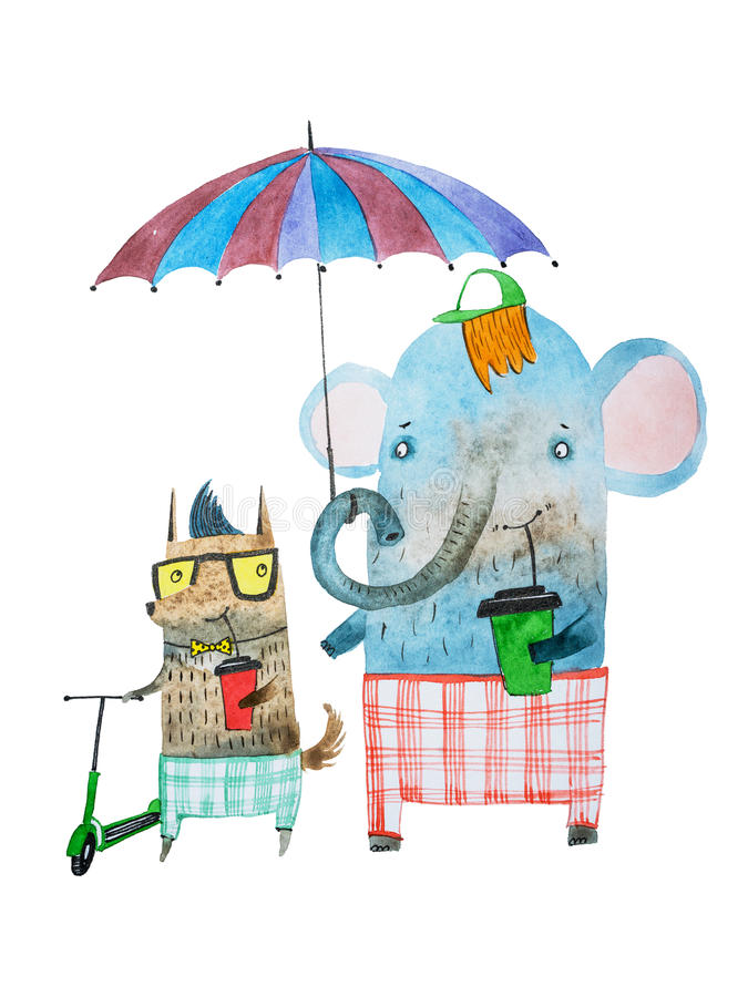 Two funny animal friends drawn with watercolour technique. Cartoon elephant and dog walking under umbrella drinking stock illustration