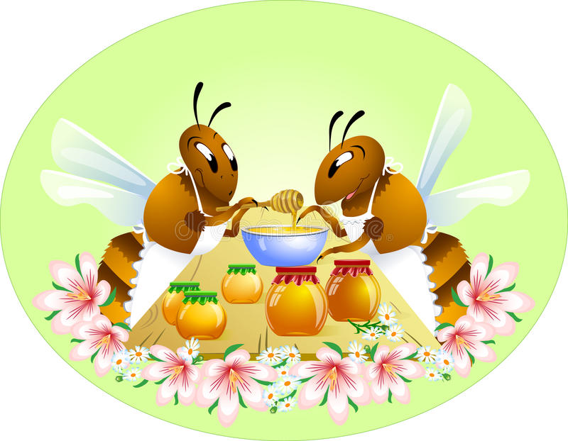 Two funny bees stock illustration