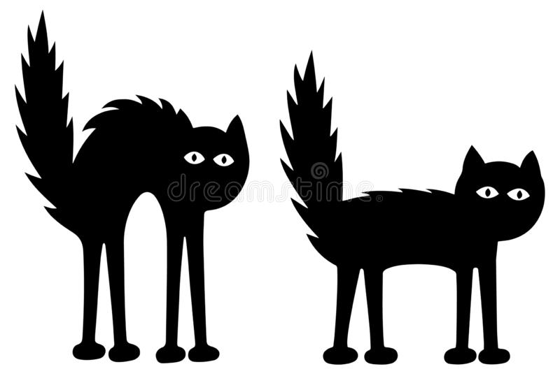 Two Funny Black Cats - Sad and frightened. Black figures over a white and transparent background. EPS Vector Illustration. royalty free stock image