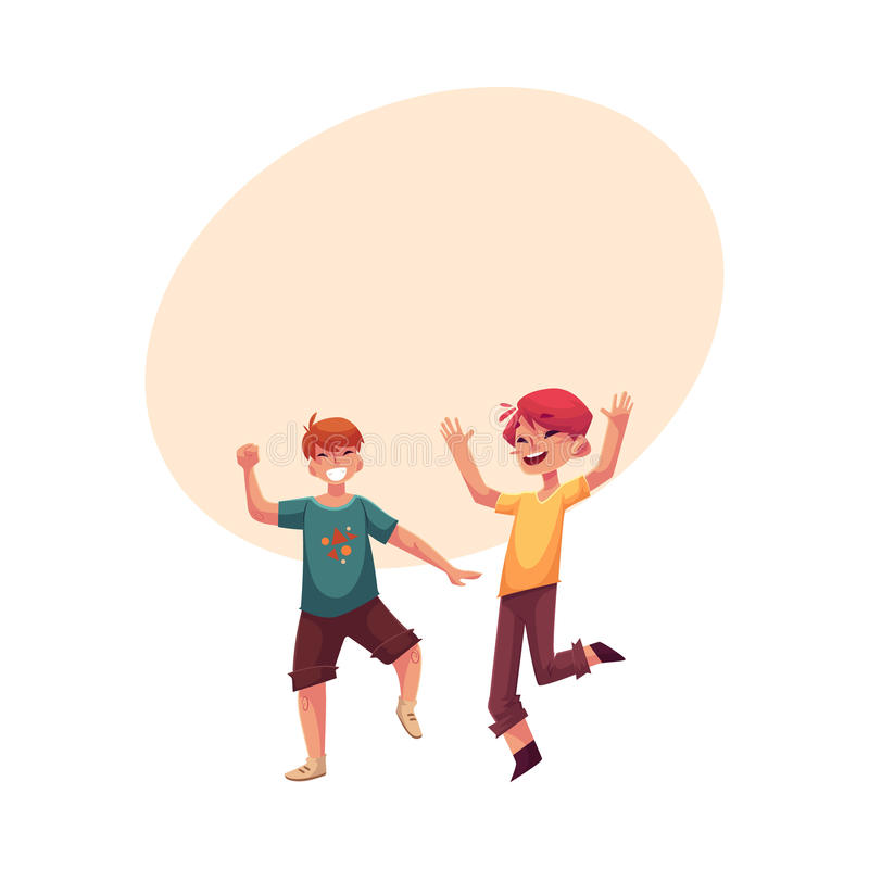 Two funny boys, kids having fun, dancing at party royalty free illustration