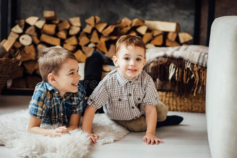 Two funny boys play together. Cute happy brothers smiling and having fun.  stock photo