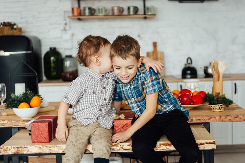 Two funny boys play together. Cute happy brothers smiling and having fun.  royalty free stock image