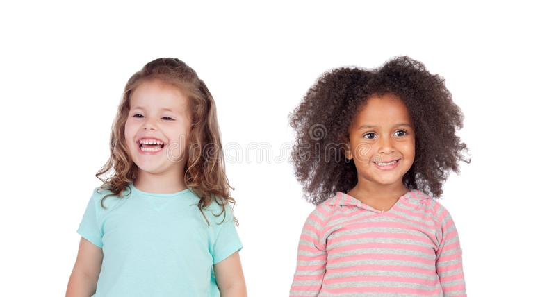 Two funny children laughing royalty free stock photography