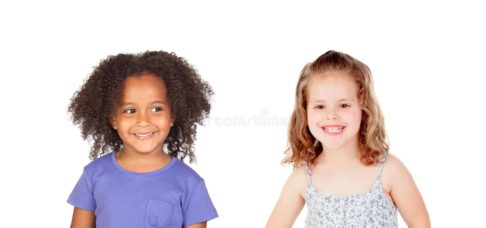 Two funny children laughing royalty free stock images